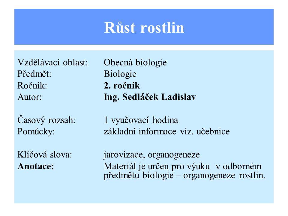 Růst rostlin Vzdělávací oblast:Obecná biologie Předmět:Biologie Ročník:2.