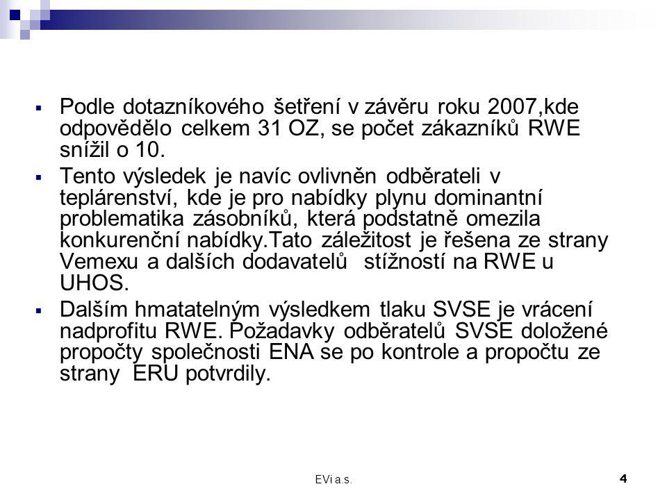 EVi a.s.4  Podle dotazníkového šetření v závěru roku 2007,kde odpovědělo celkem 31 OZ, se počet zákazníků RWE snížil o 10.  Tento výsledek je navíc