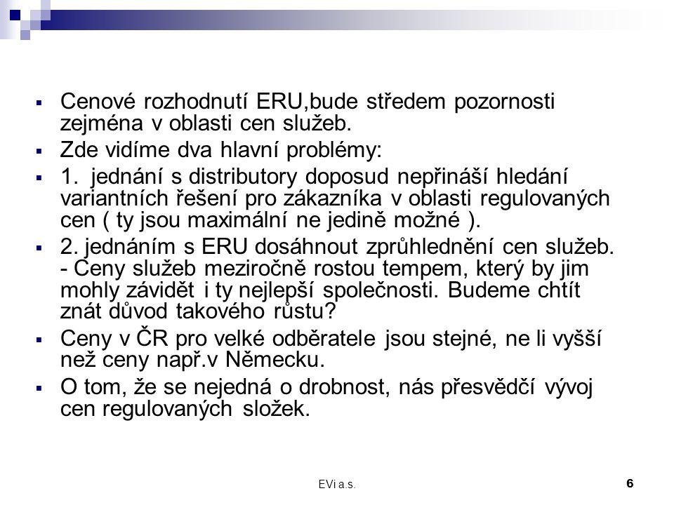 EVi a.s.6  Cenové rozhodnutí ERU,bude středem pozornosti zejména v oblasti cen služeb.  Zde vidíme dva hlavní problémy:  1. jednání s distributory