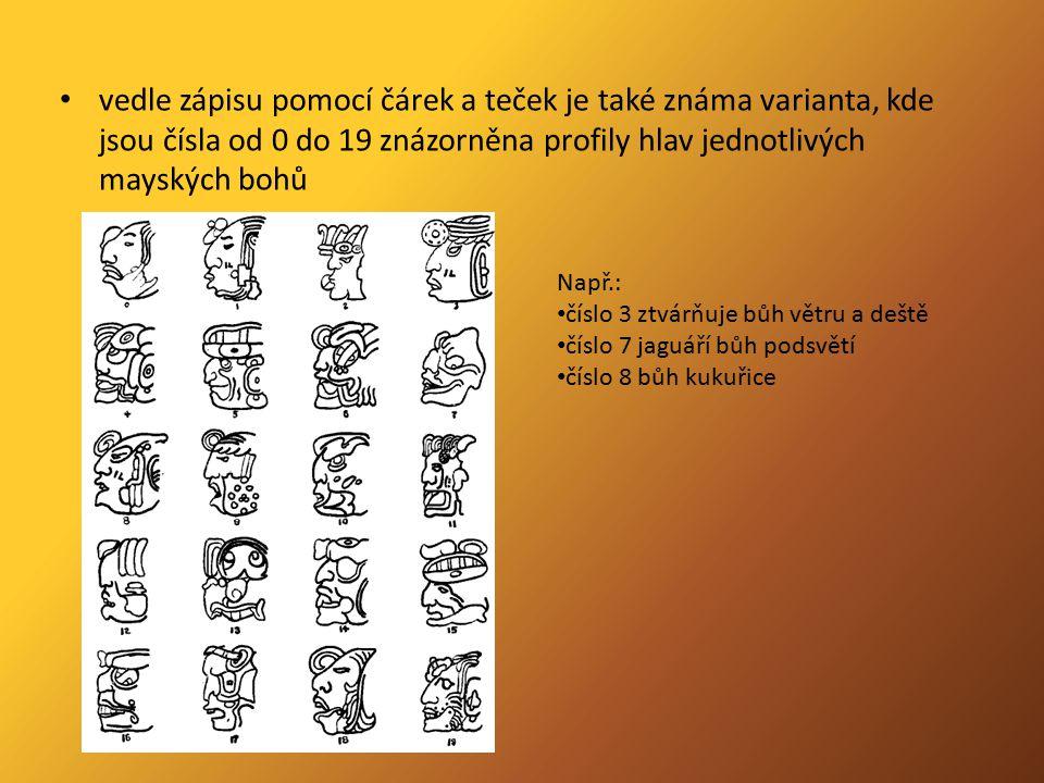 vedle zápisu pomocí čárek a teček je také známa varianta, kde jsou čísla od 0 do 19 znázorněna profily hlav jednotlivých mayských bohů Např.: číslo 3