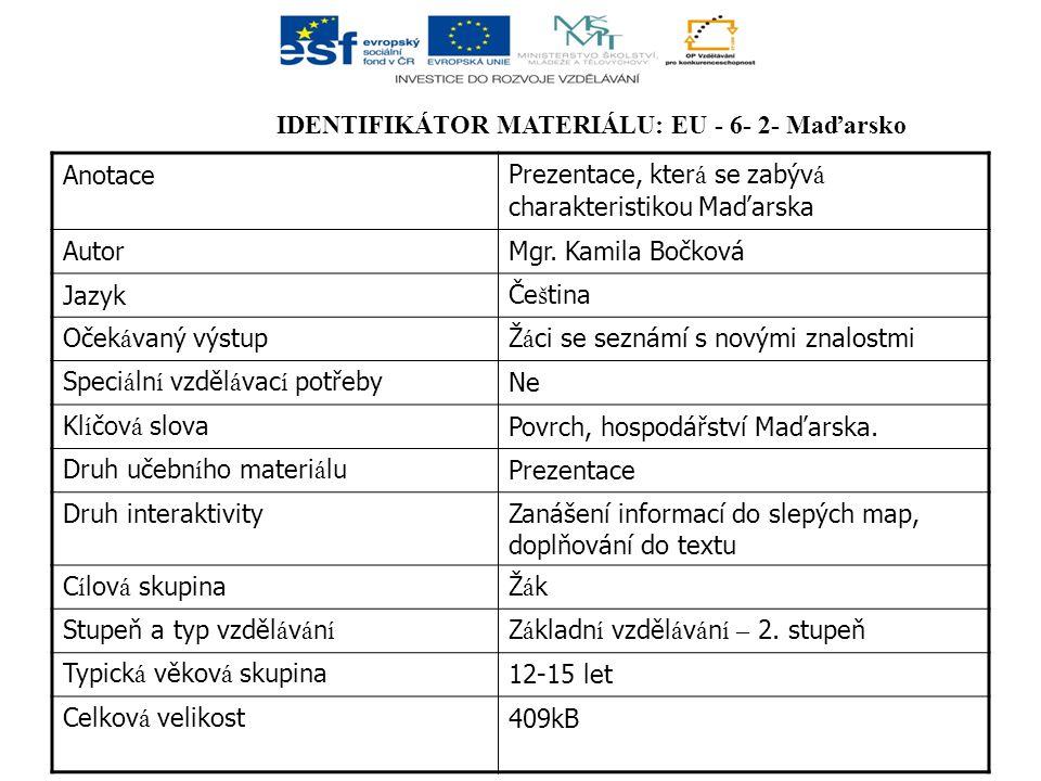 IDENTIFIKÁTOR MATERIÁLU: EU - 6- 2- Maďarsko AnotacePrezentace, kter á se zabýv á charakteristikou Maďarska AutorMgr.