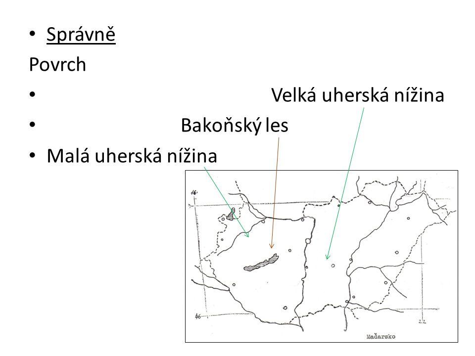 Správně Povrch Velká uherská nížina Bakoňský les Malá uherská nížina