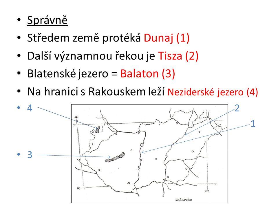 Správně Středem země protéká Dunaj (1) Další významnou řekou je Tisza (2) Blatenské jezero = Balaton (3) Na hranici s Rakouskem leží Neziderské jezero (4) 4 2 1 3