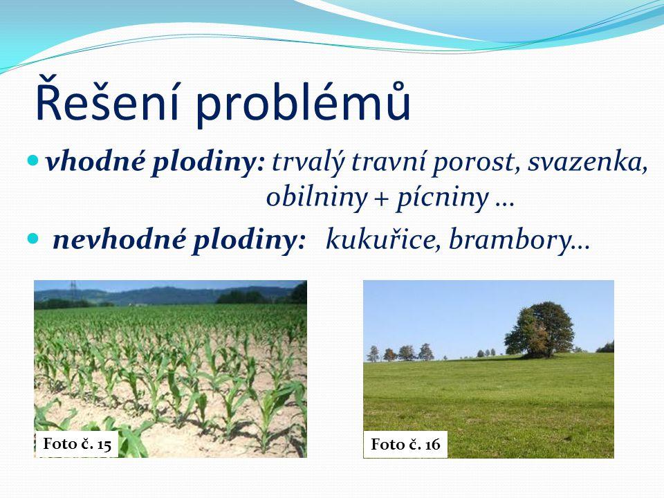 Řešení problémů vhodné plodiny: trvalý travní porost, svazenka, obilniny + pícniny … nevhodné plodiny: kukuřice, brambory… Foto č.