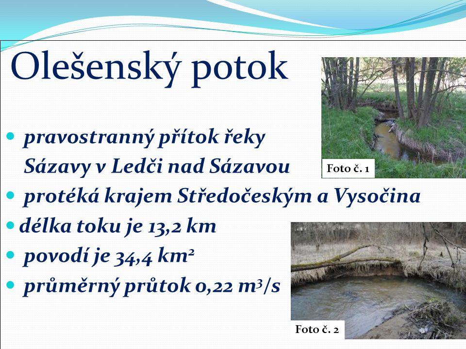 Olešenský potok pravostranný přítok řeky Sázavy v Ledči nad Sázavou protéká krajem Středočeským a Vysočina délka toku je 13,2 km povodí je 34,4 km 2 průměrný průtok 0,22 m 3 /s Foto č.