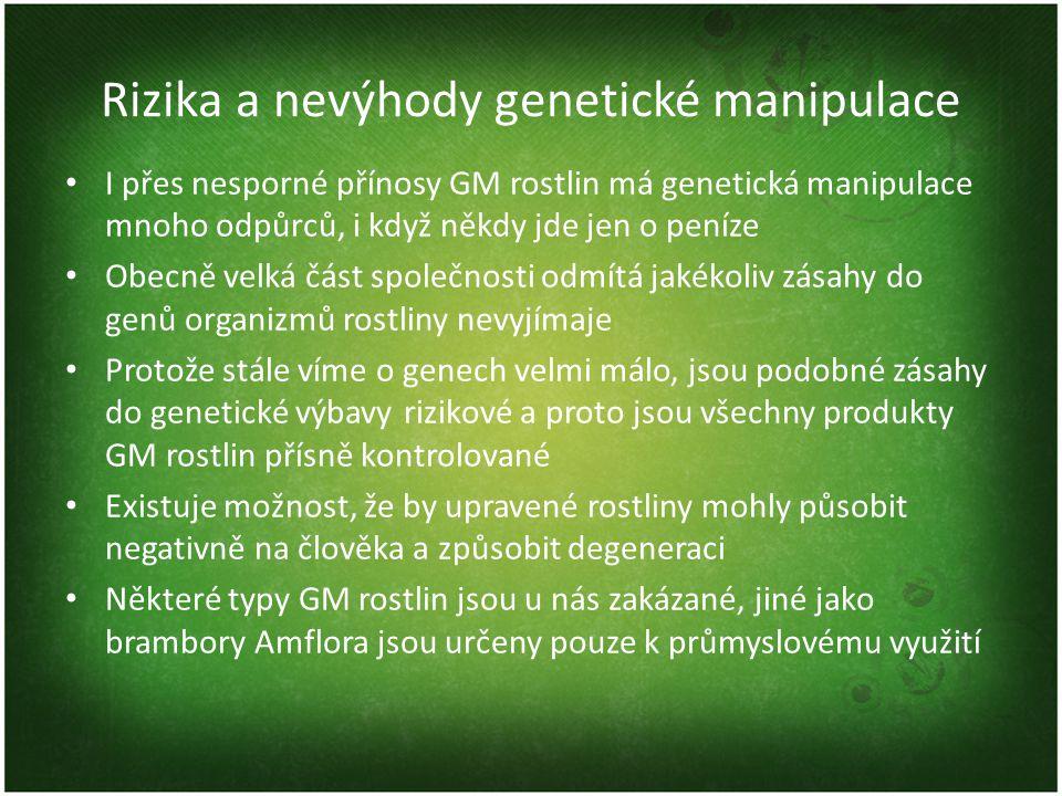Rizika a nevýhody genetické manipulace I přes nesporné přínosy GM rostlin má genetická manipulace mnoho odpůrců, i když někdy jde jen o peníze Obecně velká část společnosti odmítá jakékoliv zásahy do genů organizmů rostliny nevyjímaje Protože stále víme o genech velmi málo, jsou podobné zásahy do genetické výbavy rizikové a proto jsou všechny produkty GM rostlin přísně kontrolované Existuje možnost, že by upravené rostliny mohly působit negativně na člověka a způsobit degeneraci Některé typy GM rostlin jsou u nás zakázané, jiné jako brambory Amflora jsou určeny pouze k průmyslovému využití