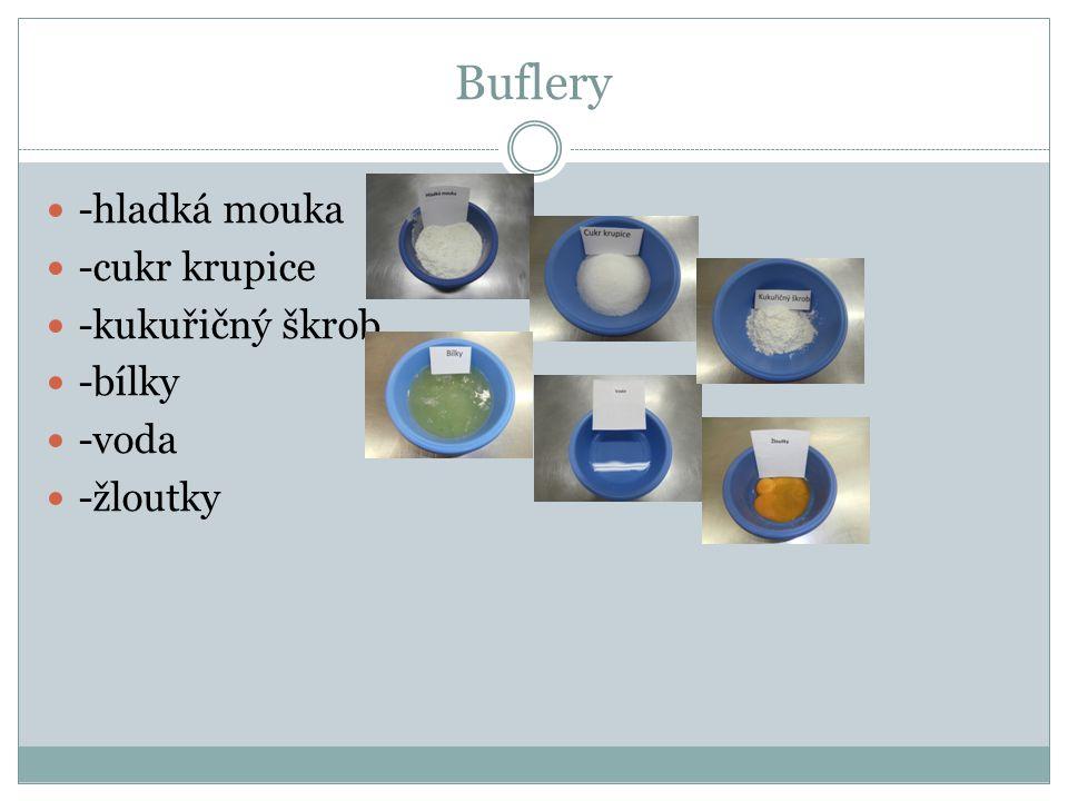 Buflery -hladká mouka -cukr krupice -kukuřičný škrob -bílky -voda -žloutky