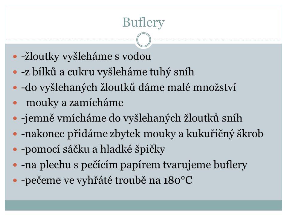 Buflery -hotové korpusy používáme na základ likérových špic, pražské koule, brambory