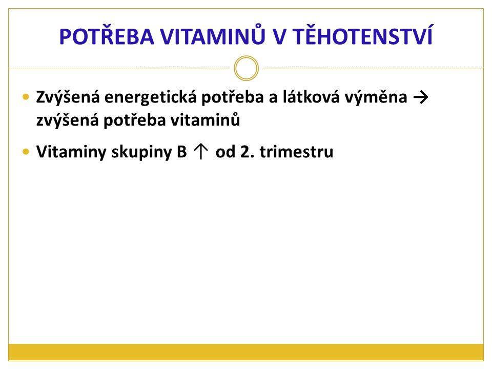 Zvýšená energetická potřeba a látková výměna → zvýšená potřeba vitaminů Vitaminy skupiny B ↑ od 2. trimestru POTŘEBA VITAMINŮ V TĚHOTENSTVÍ