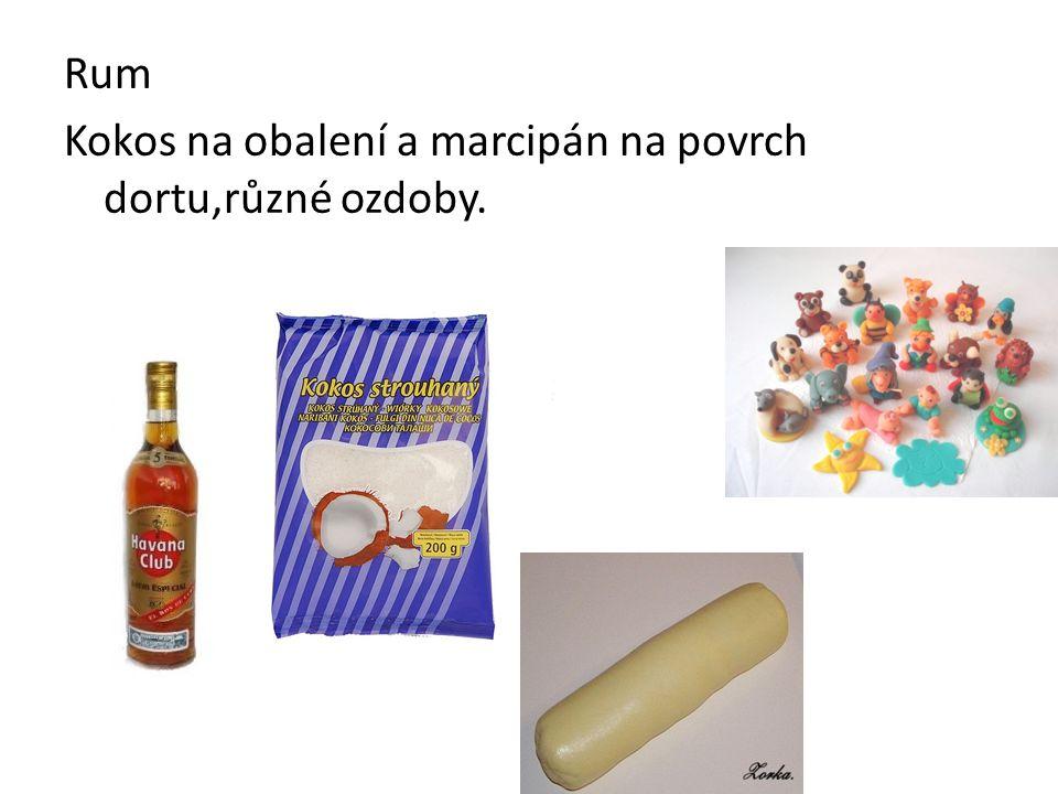 Rum Kokos na obalení a marcipán na povrch dortu,různé ozdoby.