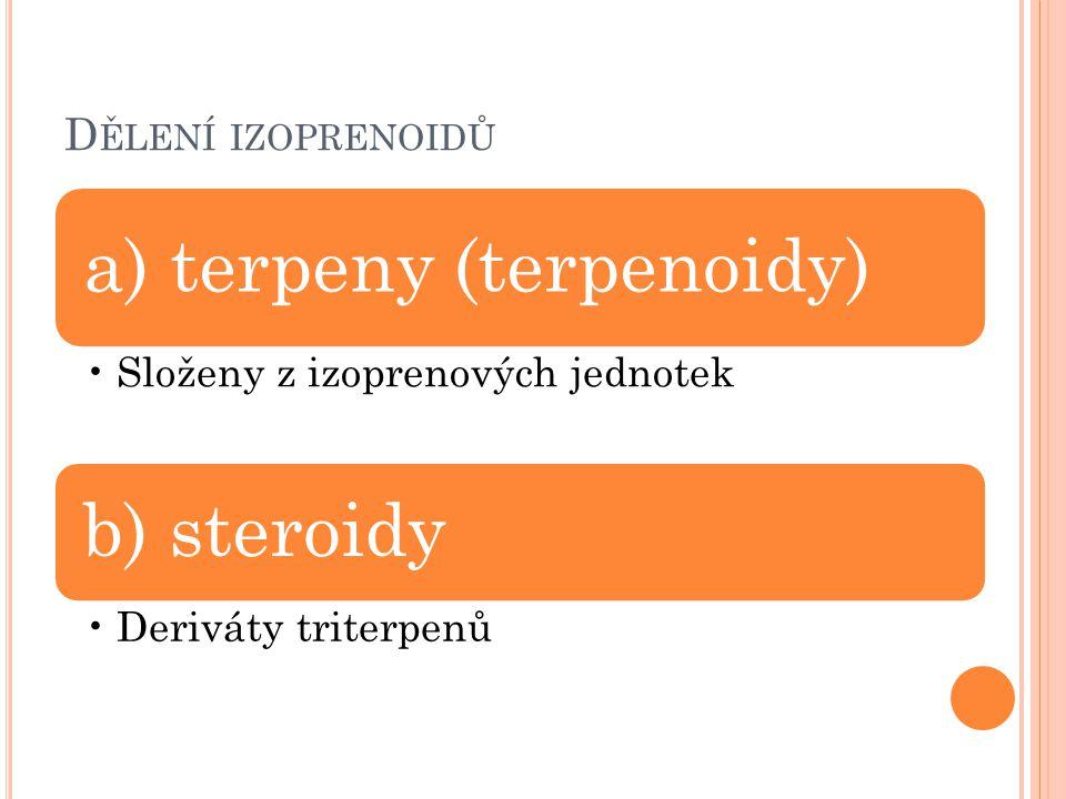 D ĚLENÍ IZOPRENOIDŮ a) terpeny (terpenoidy) Složeny z izoprenových jednotek b) steroidy Deriváty triterpenů