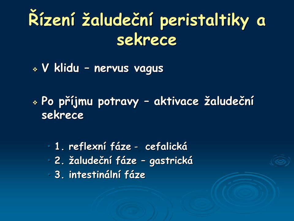 Řízení žaludeční peristaltiky a sekrece  V klidu – nervus vagus  Po příjmu potravy – aktivace žaludeční sekrece 1.