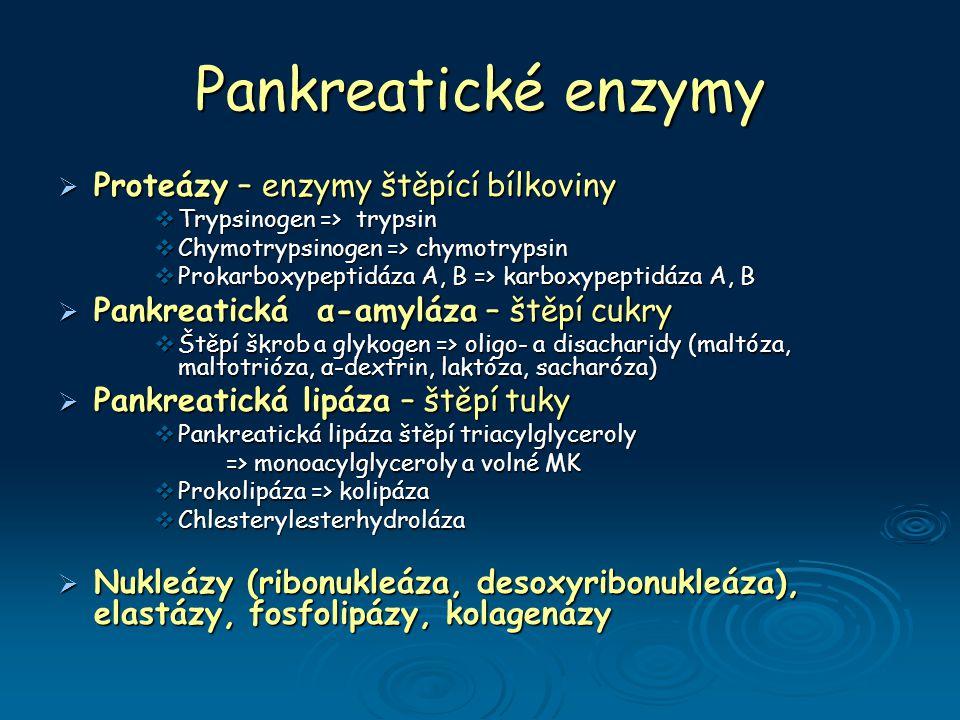 Pankreatické enzymy  Proteázy – enzymy štěpící bílkoviny  Trypsinogen => trypsin  Chymotrypsinogen => chymotrypsin  Prokarboxypeptidáza A, B => karboxypeptidáza A, B  Pankreatická α-amyláza – štěpí cukry  Štěpí škrob a glykogen => oligo- a disacharidy (maltóza, maltotrióza, α-dextrin, laktóza, sacharóza)  Pankreatická lipáza – štěpí tuky  Pankreatická lipáza štěpí triacylglyceroly => monoacylglyceroly a volné MK => monoacylglyceroly a volné MK  Prokolipáza => kolipáza  Chlesterylesterhydroláza  Nukleázy (ribonukleáza, desoxyribonukleáza), elastázy, fosfolipázy, kolagenázy