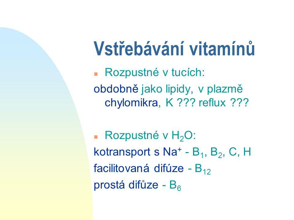 Vstřebávání iontů n Na + - DO buňky: iontové kanály, nosič, výměna za H + - Z buňky: Na + /K + ATPáza n Cl- intenzivní výměna za HCO 3 - n Ca 2+ DO: fac.difůze - kanál, nosič Z: aktivně - Ca 2+ ATPáza pasivně - antiport s Na + n Fe 3+ - HCl a vit.C mění na Fe 2+ transferrin