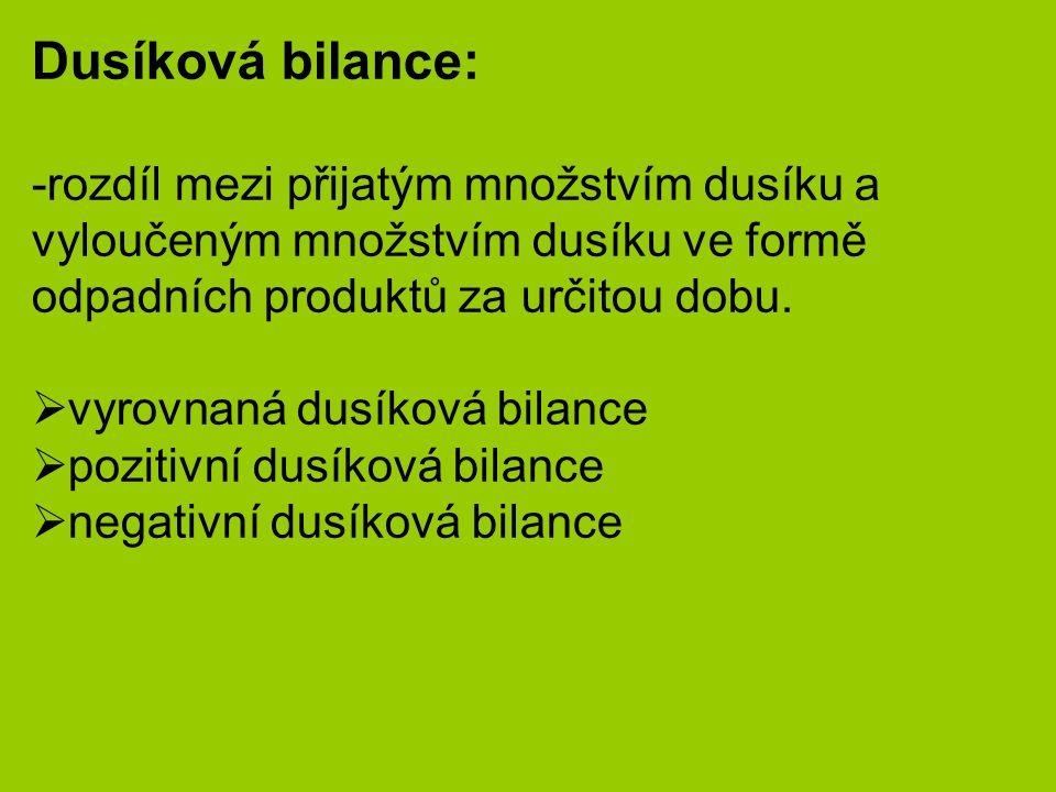 Dusíková bilance: -rozdíl mezi přijatým množstvím dusíku a vyloučeným množstvím dusíku ve formě odpadních produktů za určitou dobu.