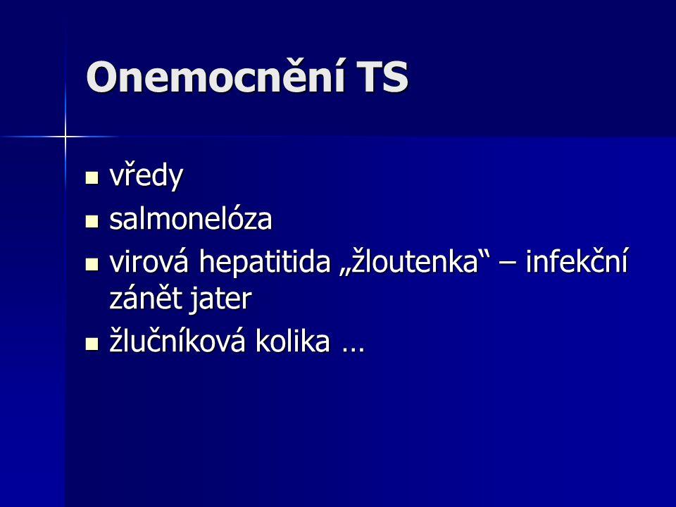 """Onemocnění TS vředy vředy salmonelóza salmonelóza virová hepatitida """"žloutenka – infekční zánět jater virová hepatitida """"žloutenka – infekční zánět jater žlučníková kolika … žlučníková kolika …"""