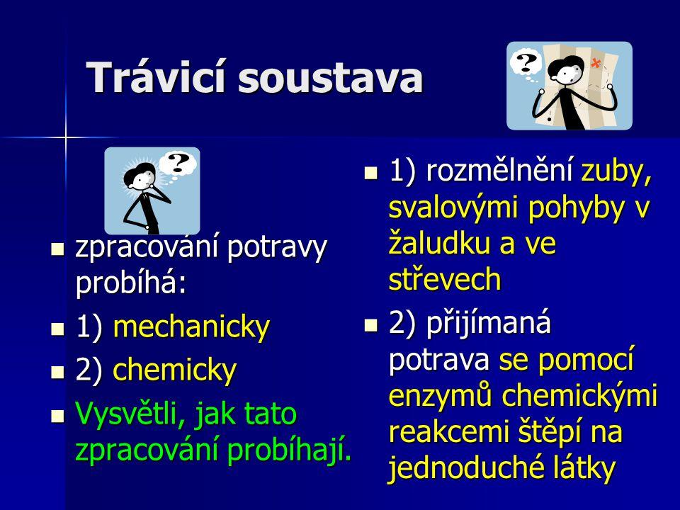 Trávicí soustava zpracování potravy probíhá: zpracování potravy probíhá: 1) mechanicky 1) mechanicky 2) chemicky 2) chemicky Vysvětli, jak tato zpracování probíhají.