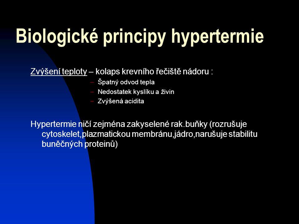 Biologické principy hypertermie Rakovinná tkáň - spotřeba více energie a živin - vznik nových krevních kapilár (chaotická struktura) – neschopnost rea