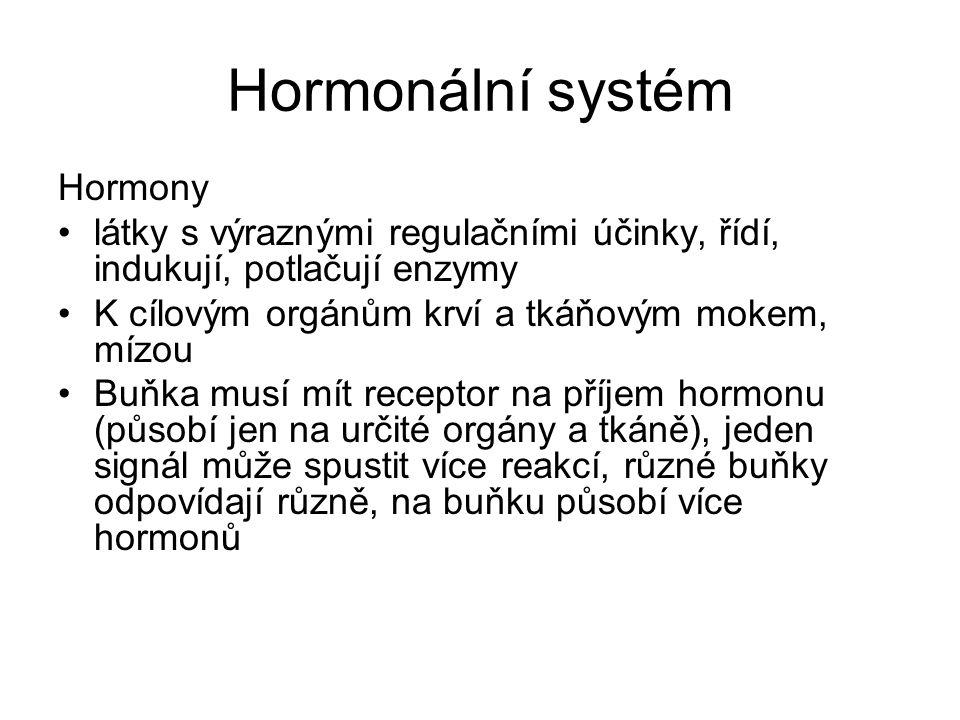 Hormonální systém Hormony látky s výraznými regulačními účinky, řídí, indukují, potlačují enzymy K cílovým orgánům krví a tkáňovým mokem, mízou Buňka