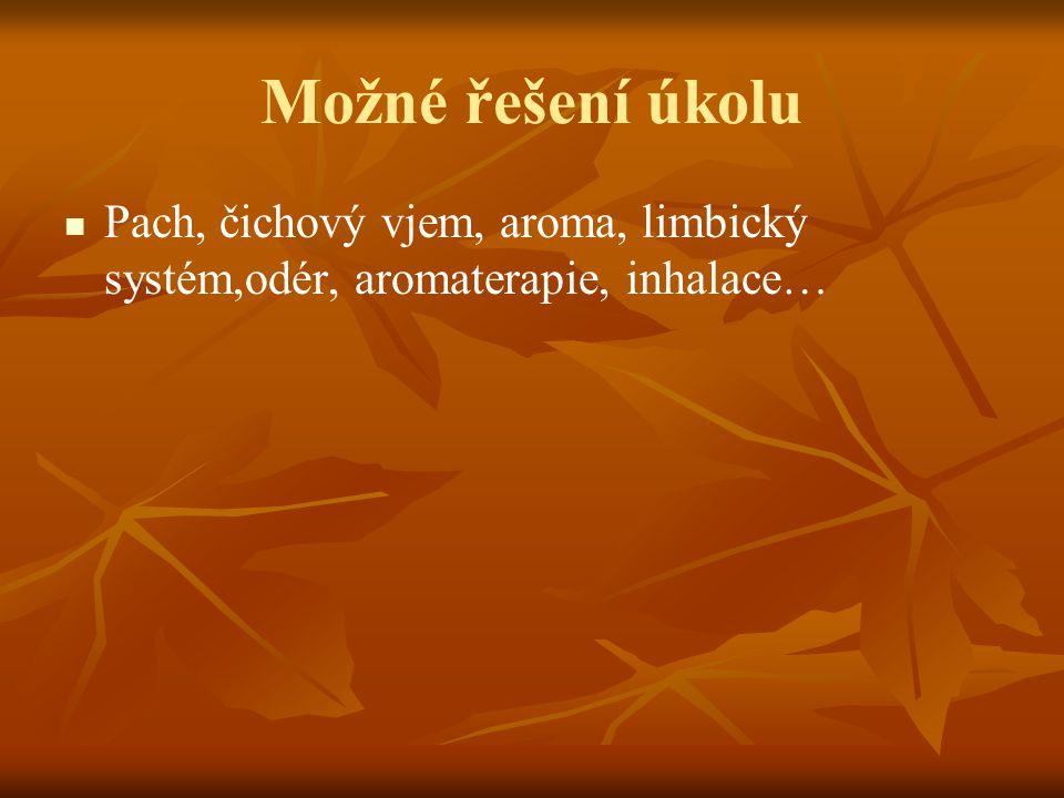 Možné řešení úkolu Pach, čichový vjem, aroma, limbický systém,odér, aromaterapie, inhalace…