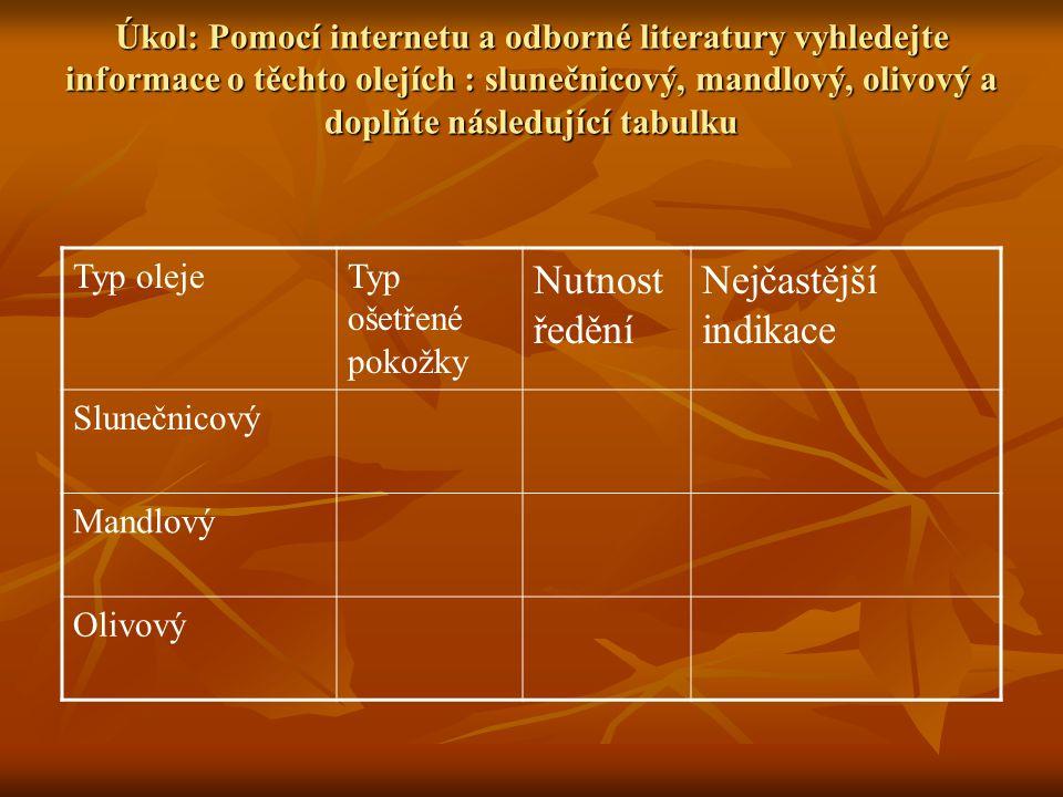 Úkol: Pomocí internetu a odborné literatury vyhledejte informace o těchto olejích : slunečnicový, mandlový, olivový a doplňte následující tabulku Typ