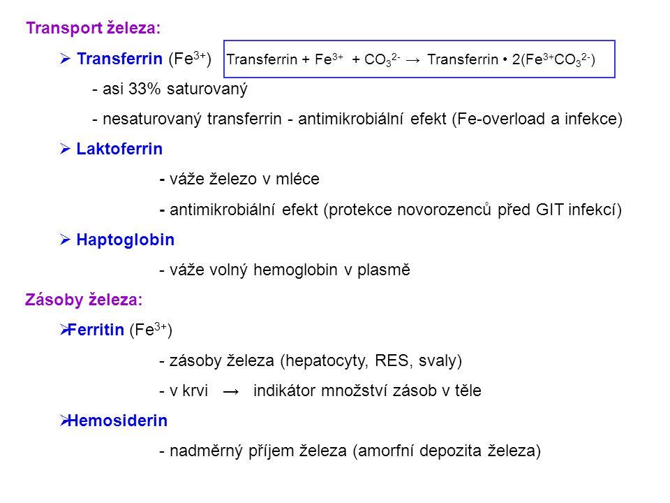 Transport železa:  Transferrin (Fe 3+ ) Transferrin + Fe 3+ + CO 3 2- →Transferrin 2(Fe 3+ CO 3 2- ) - asi 33% saturovaný - nesaturovaný transferrin