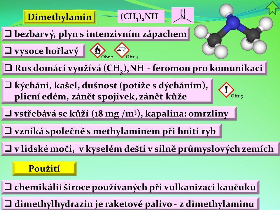 Dimethylamin  bezbarvý, plyn s intenzivním zápachem Obr.2 Použití  kýchání, kašel, dušnost (potíže s dýcháním), plicní edém, zánět spojivek, zánět k