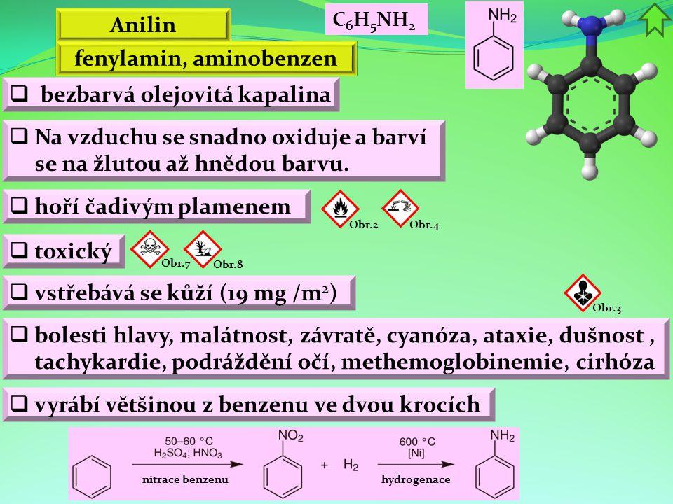Anilin  bezbarvá olejovitá kapalina Obr.2  Na vzduchu se snadno oxiduje a barví se na žlutou až hnědou barvu.  hoří čadivým plamenem  vstřebává se