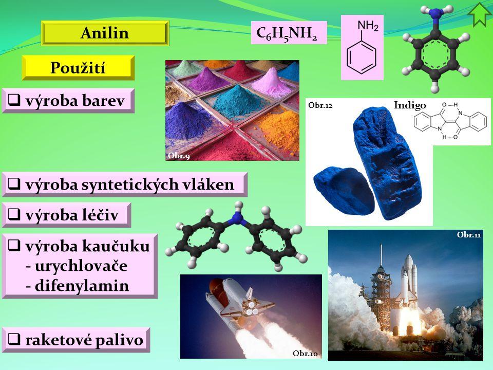 Obr.11 Obr.10 Indigo Obr.12 Obr.9 Anilin  výroba barev  výroba syntetických vláken  výroba léčiv C 6 H 5 NH 2  výroba kaučuku - urychlovače - dife