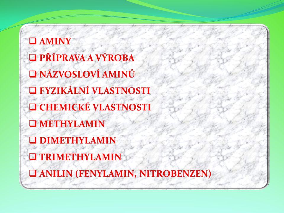 NNÁZVOSLOVÍ AMINŮ FFYZIKÁLNÍ VLASTNOSTI CCHEMICKÉ VLASTNOSTI MMETHYLAMIN DDIMETHYLAMIN TTRIMETHYLAMIN AANILIN (FENYLAMIN, NITROBENZEN) 