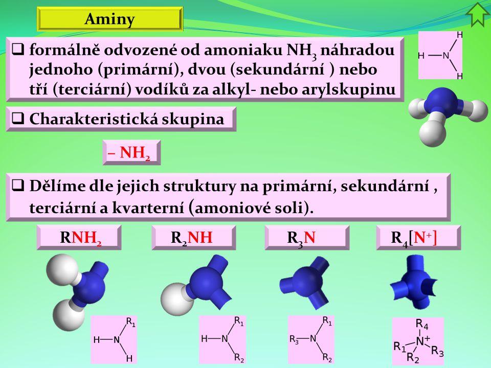Aminy  Příprava a výroba aminů  reakcí amoniaku s halogenderiváty  redukcí nitrosloučenin ROH + NH 3 → RNH 2 + H 2 O  z amoniaku alkylací s alkoholy CH 3 Cl + NH 3 → CH 3 NH 2 + HCl C 6 H 5 NO 2 + 3 H 2 → C 6 H 5 NH 2 + 2 H 2 O