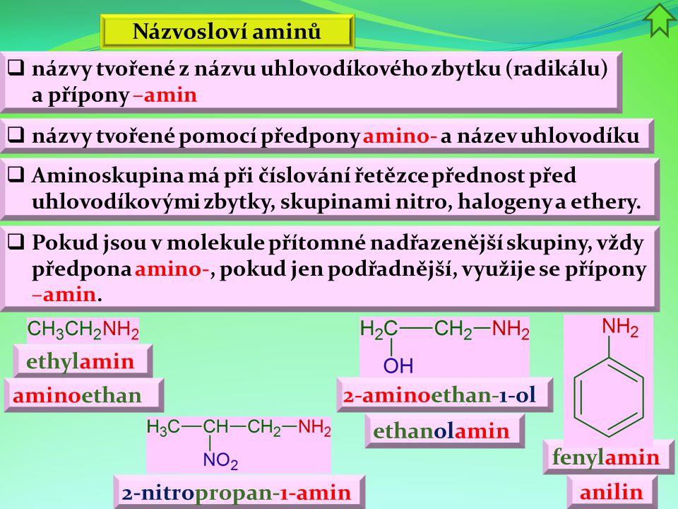 Fyzikální vlastnosti  zápachem připomínají amoniak NH 3  s nižším počtem atomů uhlíku jsou plynné  alifatické jsou ve vodě dobře rozpustné  V aminoskupině –NH 2 jsou k atomu dusíku vázány dva atomy H jednoduchými vazbami, a tak má centrální atom (N) k dispozici jeden volný e - pár, který způsobuje kladný mezomerní efekt M+ této skupiny  Aminoskupina vykazuje záporný indukční efekt I-.