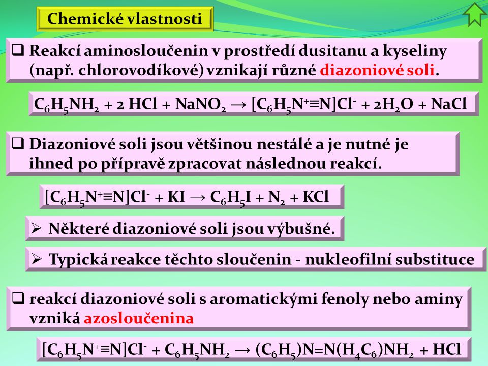 Chemické vlastnosti  reakcí diazoniové soli s aromatickými fenoly nebo aminy vzniká azosloučenina  Některé diazoniové soli jsou výbušné.  Typická r