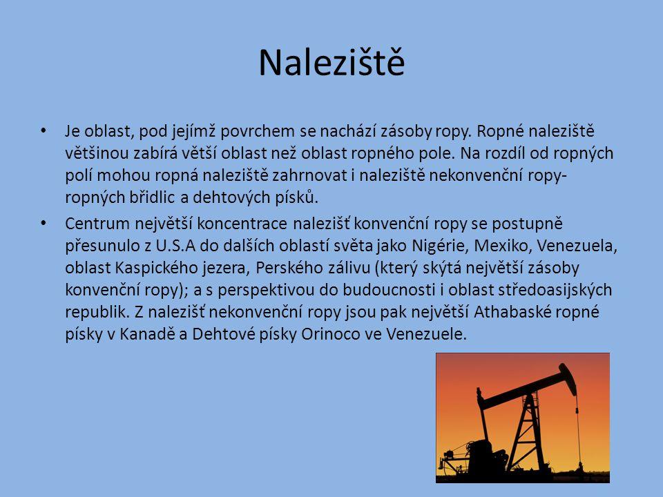 Naleziště Je oblast, pod jejímž povrchem se nachází zásoby ropy. Ropné naleziště většinou zabírá větší oblast než oblast ropného pole. Na rozdíl od ro