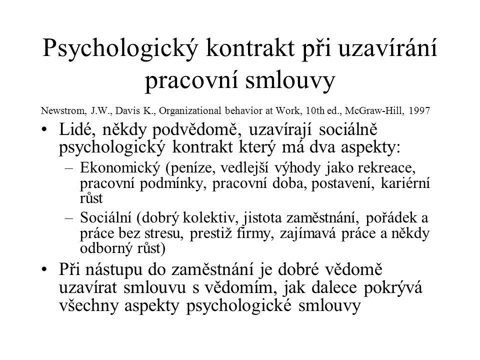 Psychologický kontrakt při uzavírání pracovní smlouvy Newstrom, J.W., Davis K., Organizational behavior at Work, 10th ed., McGraw-Hill, 1997 Lidé, někdy podvědomě, uzavírají sociálně psychologický kontrakt který má dva aspekty: –Ekonomický (peníze, vedlejší výhody jako rekreace, pracovní podmínky, pracovní doba, postavení, kariérní růst –Sociální (dobrý kolektiv, jistota zaměstnání, pořádek a práce bez stresu, prestiž firmy, zajímavá práce a někdy odborný růst) Při nástupu do zaměstnání je dobré vědomě uzavírat smlouvu s vědomím, jak dalece pokrývá všechny aspekty psychologické smlouvy