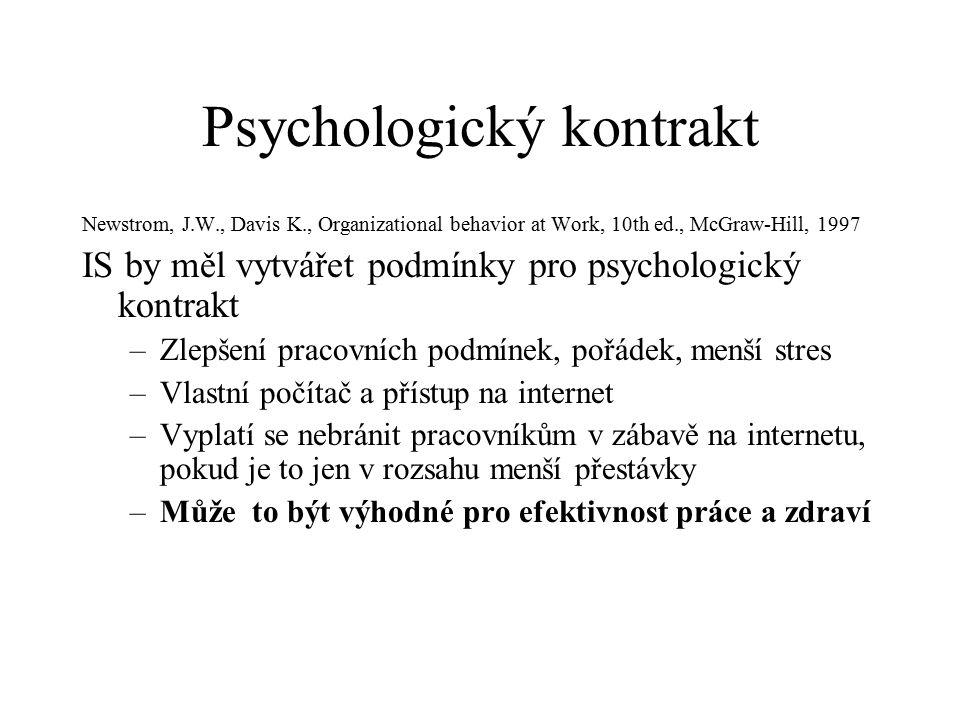 Psychologický kontrakt Newstrom, J.W., Davis K., Organizational behavior at Work, 10th ed., McGraw-Hill, 1997 IS by měl vytvářet podmínky pro psychologický kontrakt –Zlepšení pracovních podmínek, pořádek, menší stres –Vlastní počítač a přístup na internet –Vyplatí se nebránit pracovníkům v zábavě na internetu, pokud je to jen v rozsahu menší přestávky –Může to být výhodné pro efektivnost práce a zdraví