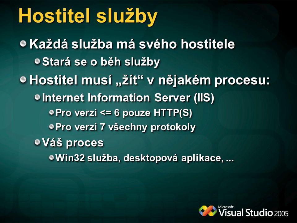 """Hostitel služby Každá služba má svého hostitele Stará se o běh služby Hostitel musí """"žít"""" v nějakém procesu: Internet Information Server (IIS) Pro ver"""