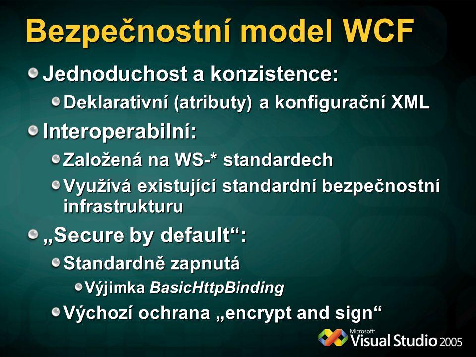 Dvě části bezpečnosti WCF Zabezpečení zpráv vyměňovaných mezi entitami (osoba, firma, software,...) Autentizace, důvěrnost, integrita, neodmítnutelnost odpovědnosti Zabezpečení přístupu k nabízeným zdrojům (soubory, služby, operace,...) Autorizace, auditování