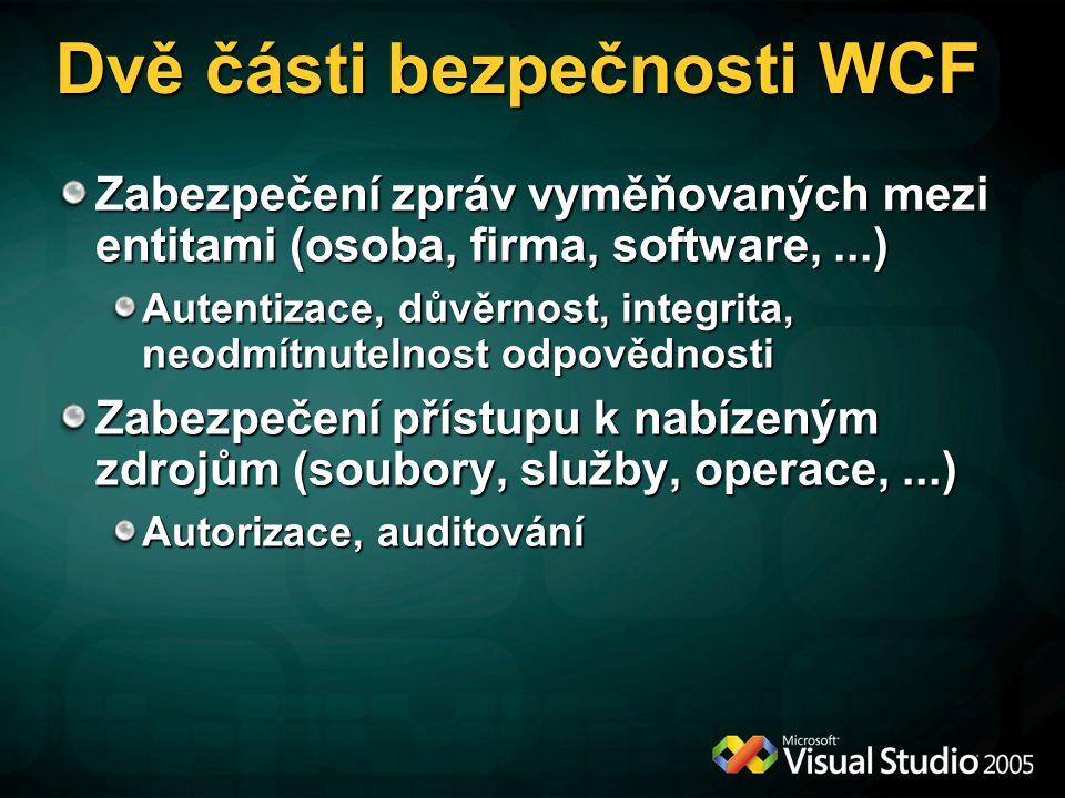 Dvě části bezpečnosti WCF Zabezpečení zpráv vyměňovaných mezi entitami (osoba, firma, software,...) Autentizace, důvěrnost, integrita, neodmítnutelnos