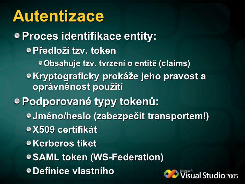 Autorizace Zdroje v aplikaci (imperativní kód) Operace (PrincipalPermission) Hostitel (soubor, URL, konfigurace služby) Zpráva Možnost vlastní správy rolí: Možno využít RoleProvider z ASP.NET Možnost vlastní autorizační politiky