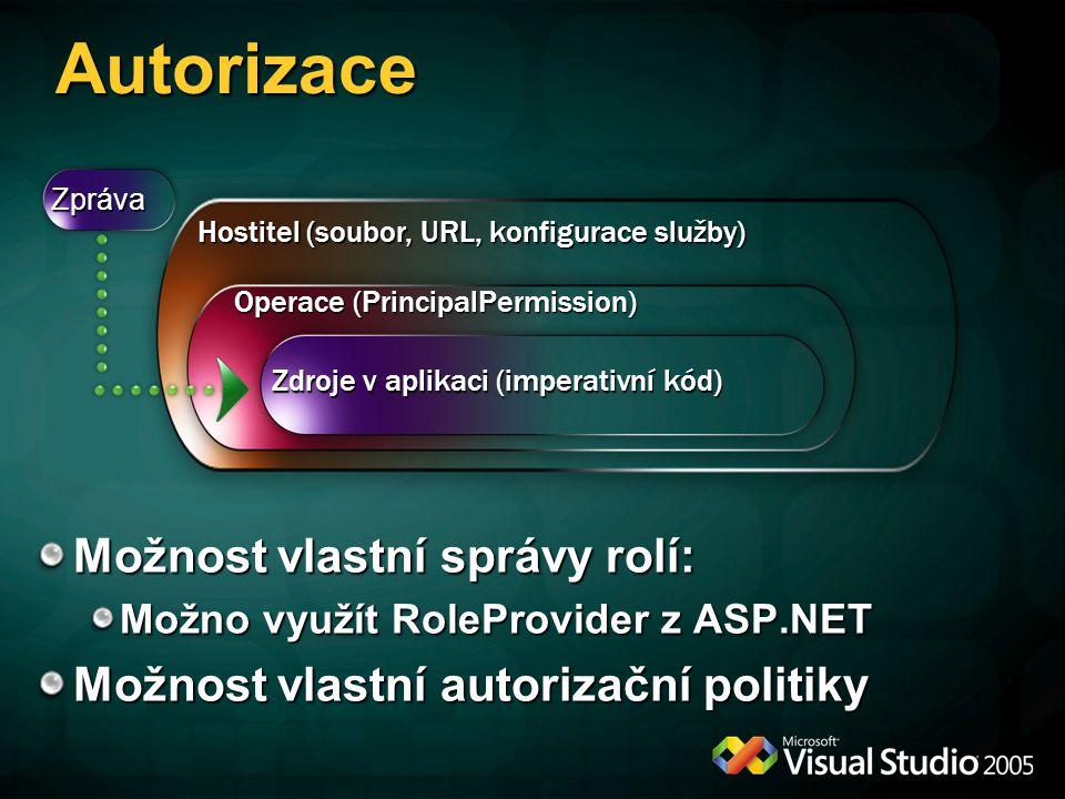 Autorizace Zdroje v aplikaci (imperativní kód) Operace (PrincipalPermission) Hostitel (soubor, URL, konfigurace služby) Zpráva Možnost vlastní správy
