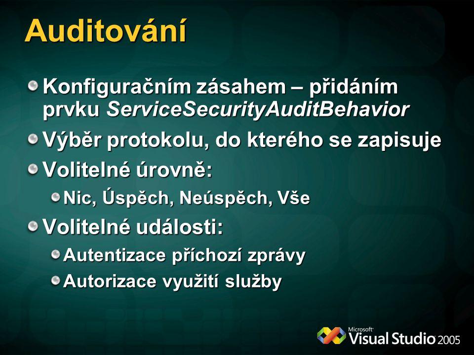 Auditování Konfiguračním zásahem – přidáním prvku ServiceSecurityAuditBehavior Výběr protokolu, do kterého se zapisuje Volitelné úrovně: Nic, Úspěch,