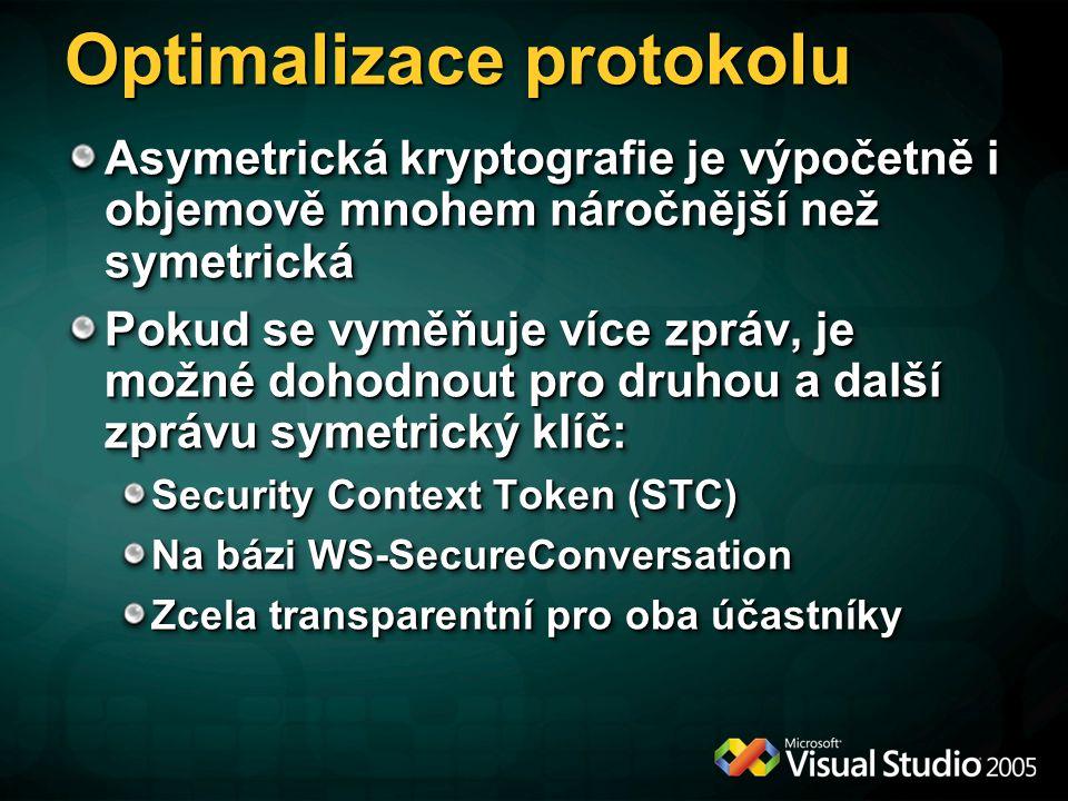 Optimalizace protokolu Asymetrická kryptografie je výpočetně i objemově mnohem náročnější než symetrická Pokud se vyměňuje více zpráv, je možné dohodn