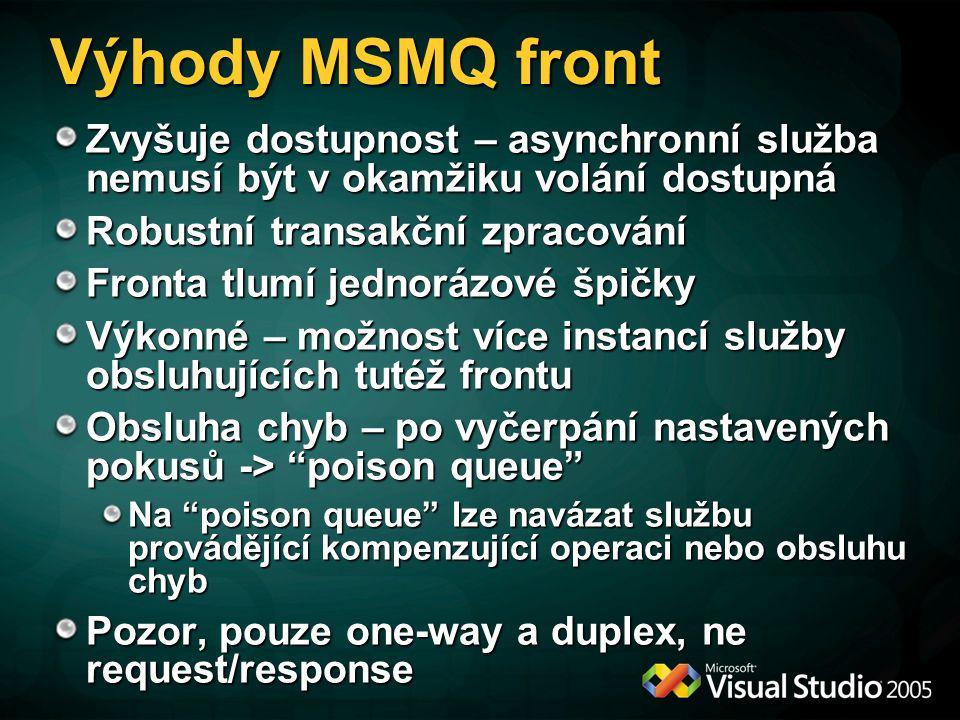 Výhody MSMQ front Zvyšuje dostupnost – asynchronní služba nemusí být v okamžiku volání dostupná Robustní transakční zpracování Fronta tlumí jednorázov