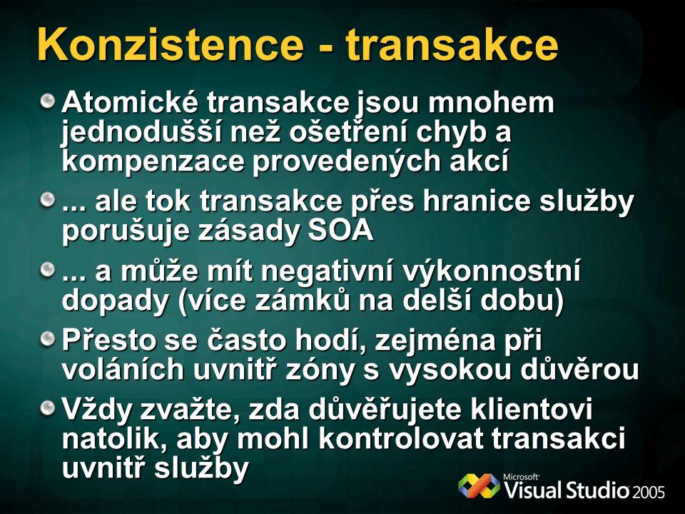 """Transakce – bezpečnost V kontraktu je nutné specifikovat operační požadavek na chování k """"přitékající transakci Při implementaci je nutné deklarativně vyjádřit transakční chování služby V konfiguraci klienta i serveru musí být pro příslušný binding povolen tok transakce mezi klientem a službou.NET klient pak může využít TransactionScope jako obvykle"""
