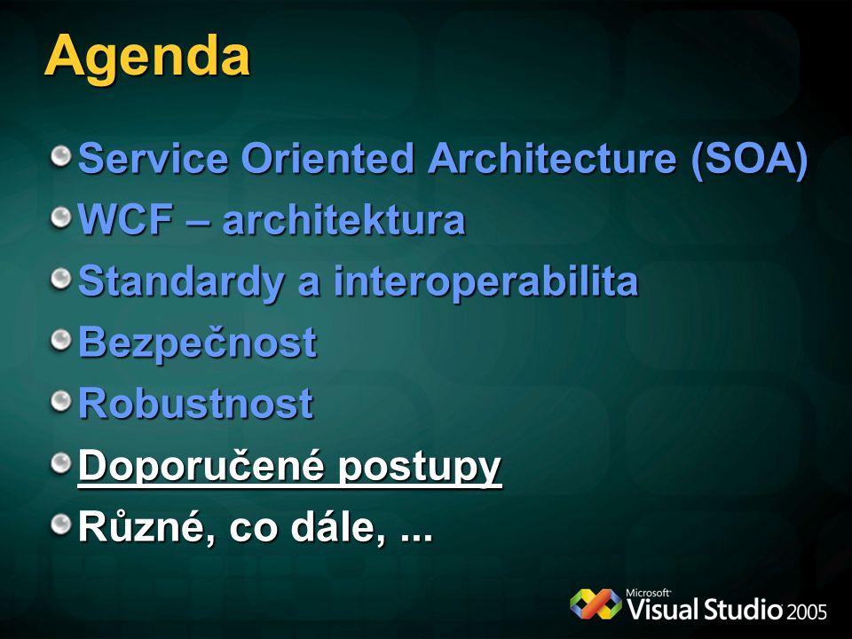 Agenda Service Oriented Architecture (SOA) WCF – architektura Standardy a interoperabilita BezpečnostRobustnost Doporučené postupy Různé, co dále,...