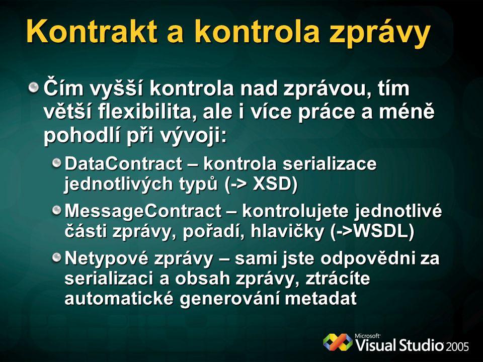 Kontrakt a kontrola zprávy Čím vyšší kontrola nad zprávou, tím větší flexibilita, ale i více práce a méně pohodlí při vývoji: DataContract – kontrola