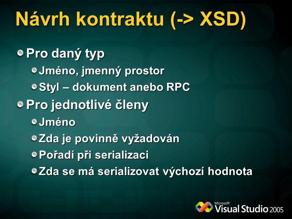 Návrh kontraktu (-> XSD) Pro daný typ Jméno, jmenný prostor Styl – dokument anebo RPC Pro jednotlivé členy Jméno Zda je povinně vyžadován Pořadí při s