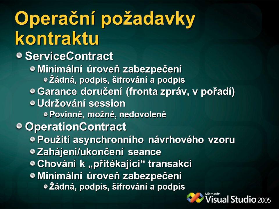 Operační požadavky kontraktu ServiceContract Minimální úroveň zabezpečení Žádná, podpis, šifrování a podpis Garance doručení (fronta zpráv, v pořadí)
