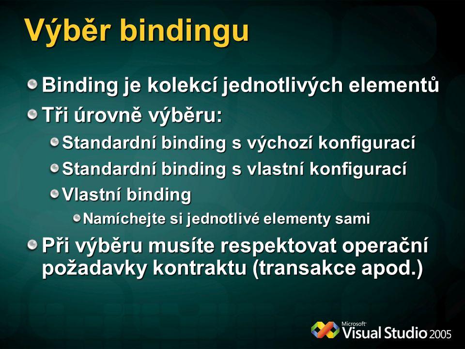 Standardní bindingy T = Transport Security | S = WS-Security | O = One-Way Only InteropSecuritySessionTransxDuplexStream BasicHttpBinding WsHttpBinding WsDualHttpBinding NetTcpBinding NetNamedPipesBinding NetMsmqBinding BP WS WS T TS TS TS TS TS O O NetPeerTcpBinding TS